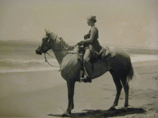 Nancy Mooers Brown & Pampa on a horseback riding vacation in Point Reyes