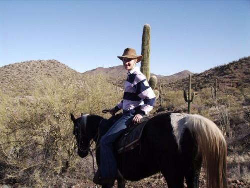 Rebecca Goodwin on a solo horseback riding vacation in Arizona