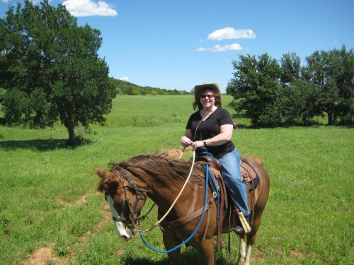 Travel Writer Nancy Brown Riding Wildfire on a Horseback Riding Vacation at Wildcatter Ranch in Graham, Texas