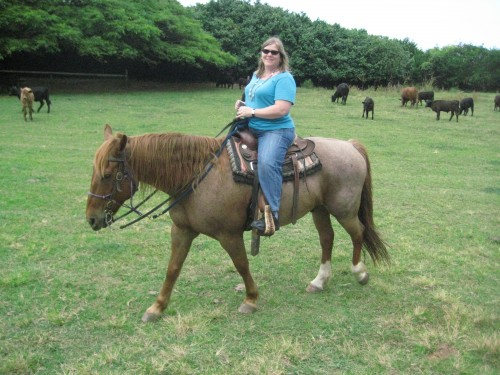 Nancy Brown on a Horseback Riding Vacation at Kualoa Ranch, Oahu, Hawaii