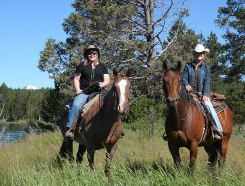Nancy D. Brown riding George and Sunriver Stables Guide Diana on a horseback riding vacation in Central Oregon.