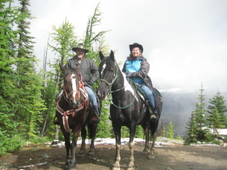 Cory and Nancy Brown on a horseback riding vacation to the Little Beehive in Banff Nation Park, Lake Louise