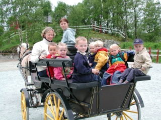 Family days at Sunnmore Open Air Museum in Alesund, Norway mean carriage rides with Fjord horses. Photo courtesy of Ovre-Eide Farm.