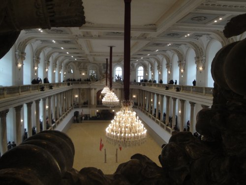 Crystal Chandeliers Grace Vienna's Spanish Riding School during a Horseback Riding Demonstration in Vienna, Austria