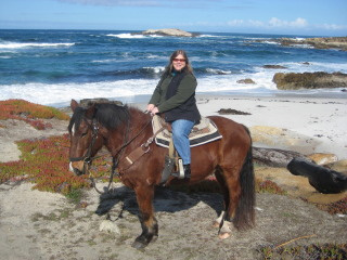Nancy Brown On A Horseback Riding Vacation In Pebble Beach California