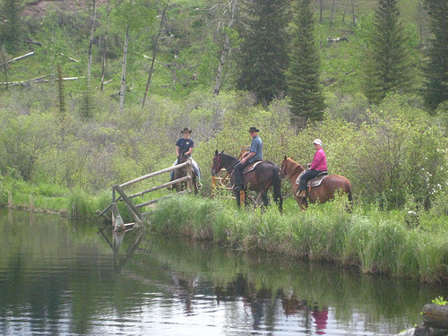 Guests on a horseback riding vacation at Big Bar Ranch in British Columbia, Canada