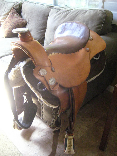 Western Orthoflex Saddle For Sale - Writing Horseback