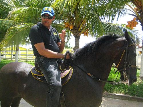 Criadero El hijo de David owner Norman Hugo on his Paso Fino horse