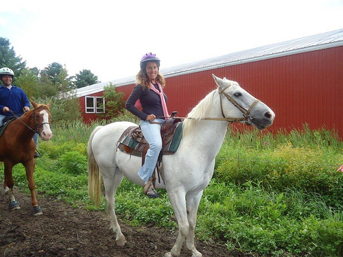 Laura Diamond on a horseback riding vacation in Stowe, Vermont
