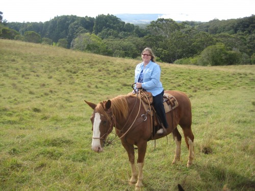 Nancy D. Brown enjoys a horseback riding vacation with Prince at Piiholo Ranch in Maui, Hawaii