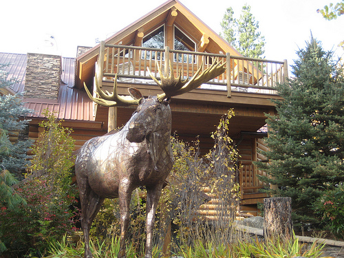 Moose composed of metal scraps by Idaho's Russ Lamb, stands guard at Triple Creek Ranch in Darby, Montana