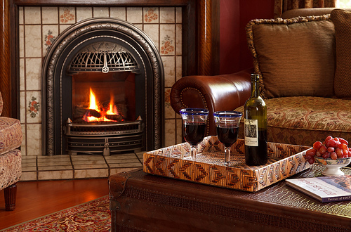 Cuddle up by the fire at Abbeymoore Manor after your horse & carriage ride around the streets of Victoria, BC, Canada