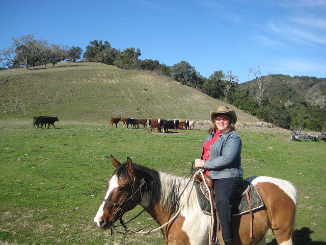 equestrian travel writer Nancy D. Brown horseback riding at Alisal Guest Ranch in Solvang, California