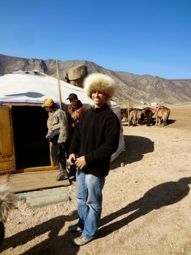 Author Rory Cummins in front of a Mongolian Ger tent