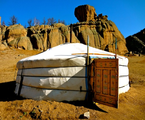 Sleeping in a Ger Tent during a Mongolian horseback riding vacation