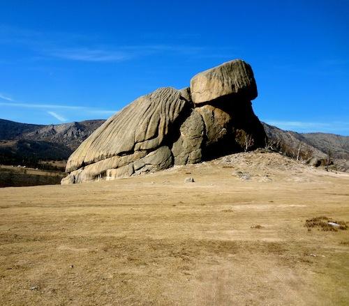 Horseback riding to Turtle Rock in Mongolia