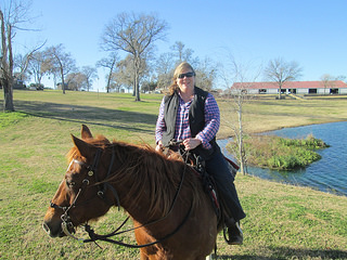 Nancy D. Brown, horseback