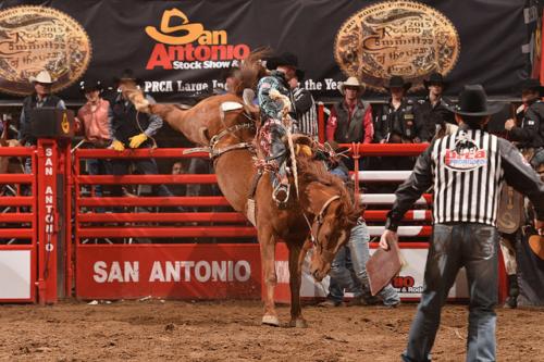 san antonio stock show & rodeo, saddle bronc riding, jacobs crawley, cowboy, horse, san antonio, texas, rodeo