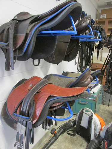 english saddle, custom care equine tack room, camden, south carolina