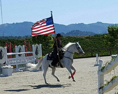 christine shepherd, usa flag, equestrian, horse, drill team