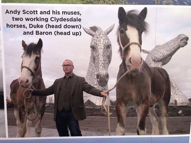 scottish sculptor andy scott, the kelpies models duke and baron, clydesdale horses at falkirk scotland