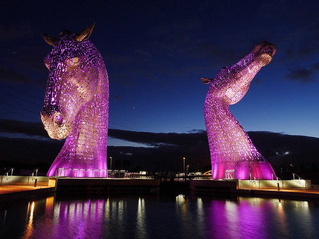 the kelpies at night, the helix, equine sculpture falkirk scotland