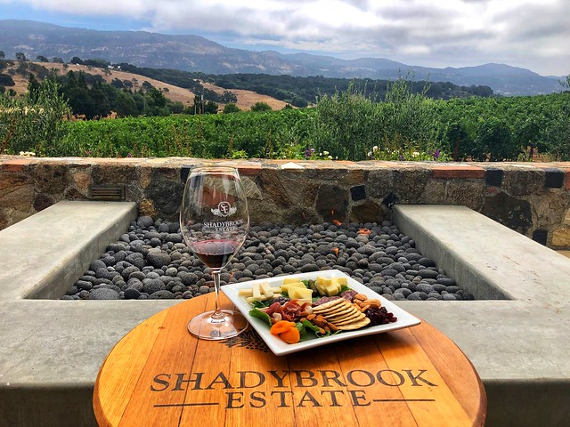 Charcuterie plate and glass of red wine in front of the outdoor firepit at Shadybrook Estate WInery in Napa, California.