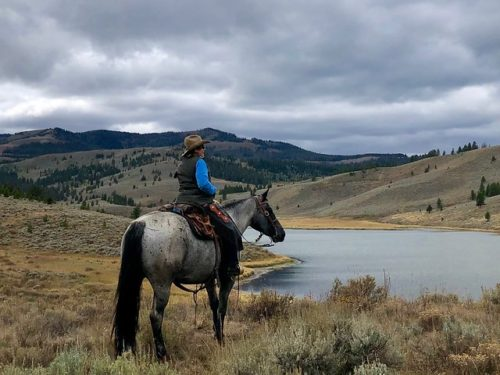 Equestrian travel expert Nancy D. Brown on her roan quarter horse, Essie, looking out to Meadow Lake in Gallatin National Forest, Montana