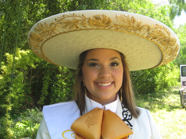 Charro Queen Kellie Ramos wearing a sombrero in San Antonio, Texas.