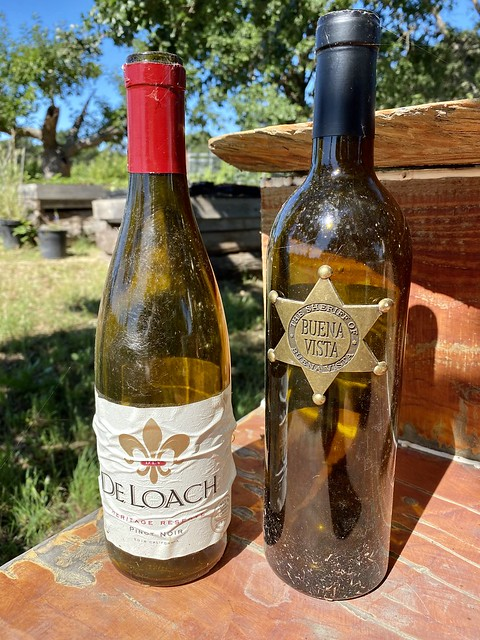 "Bottles of DeLoach Vineyards Pinot Noir and Buena Vista ""The Sheriff"" grace the table at Rollin F. Ranch in Sonoma County."
