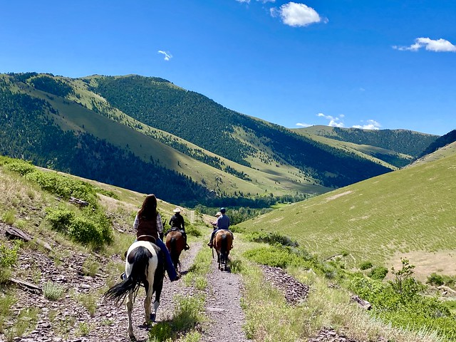 Equestrians go horseback riding at Rocking Z Guest Ranch near Helena, Montana