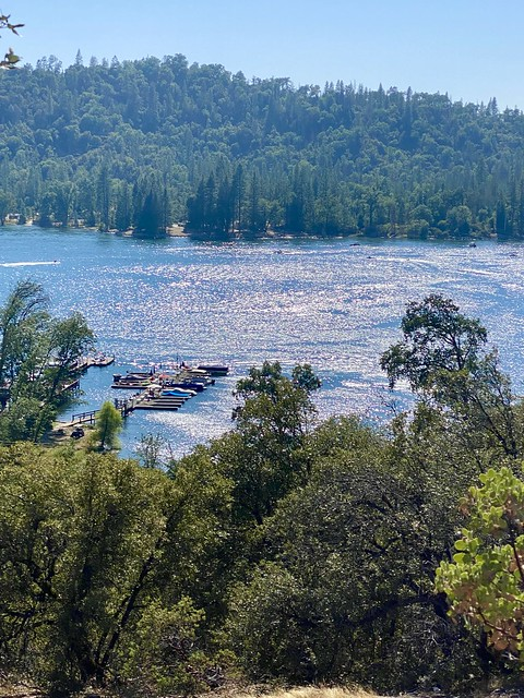 Bass Lake with marina and boats, surrounded by Sierra National Forest in Madera County, California in July.