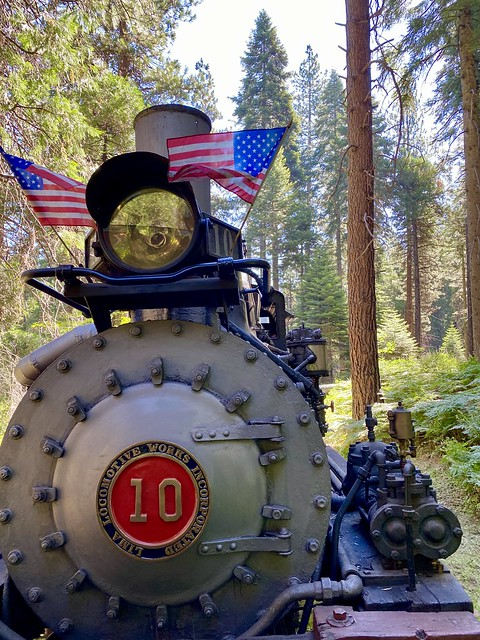 Yosemite Mountain Sugar Pine Railroad locomotive #10 chugs through the Sierra National Forest near Yosemite National Park.